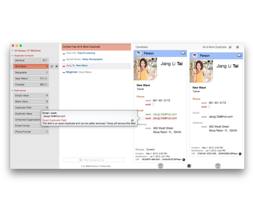 Duplicate Contact display