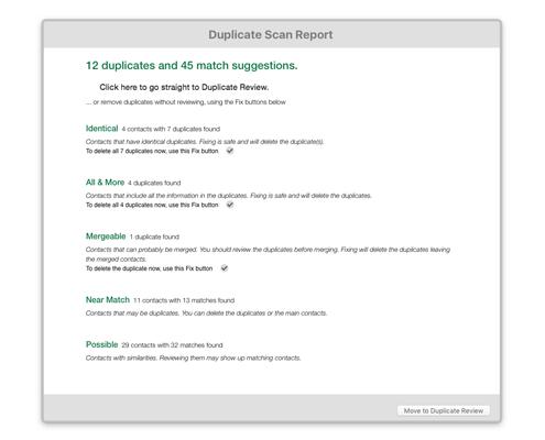 Duplicate Scan Report